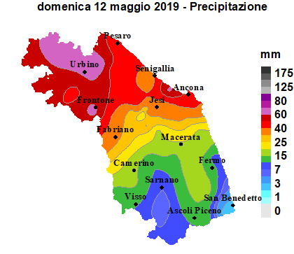 Meteo ASSAM Regione Marche - precipitazione 12 maggio 2019