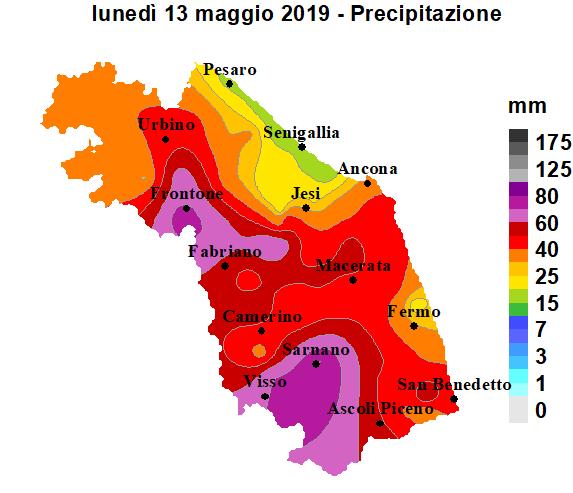 Meteo ASSAM Regione Marche - precipitazione 13 maggio 2019
