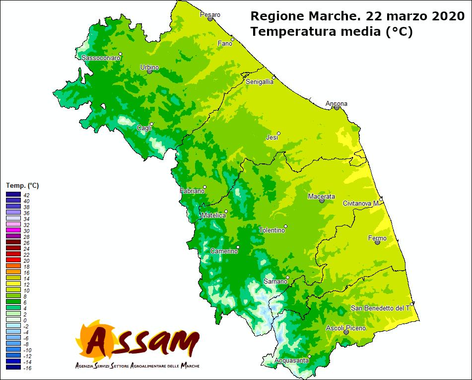 Meteo ASSAM Regione Marche - temperatura 22 marzo 2020