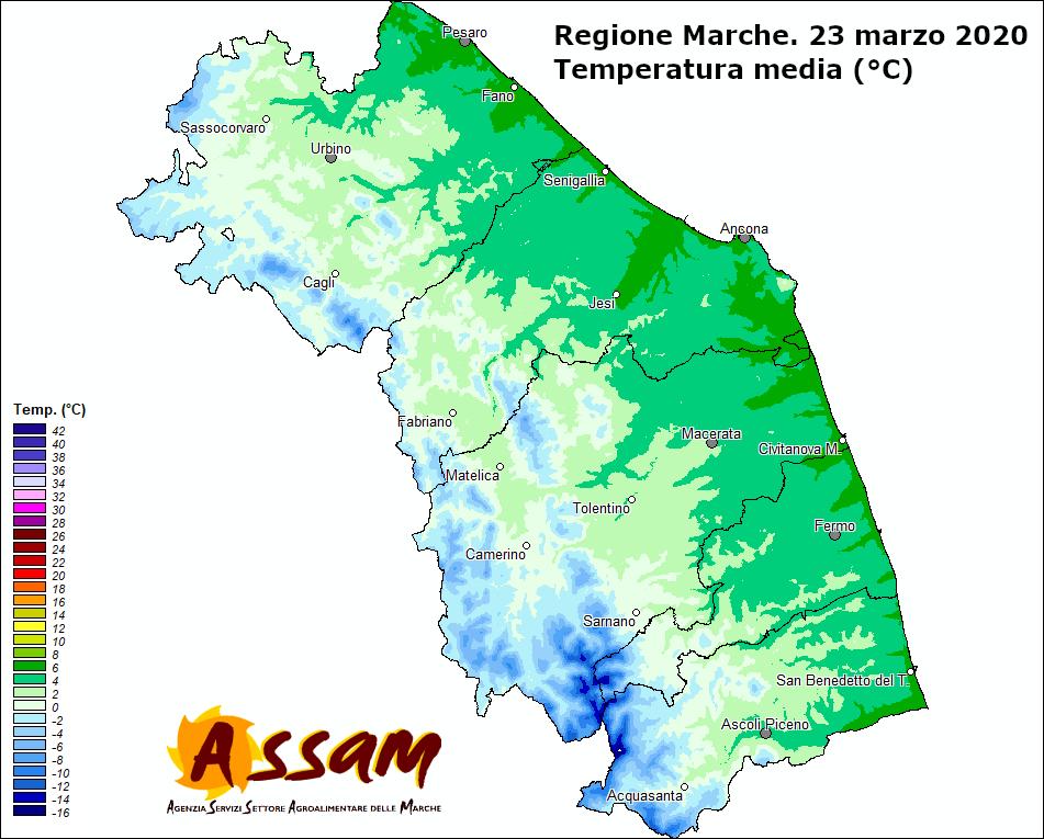 Meteo ASSAM Regione Marche - temperatura 23 marzo 2020