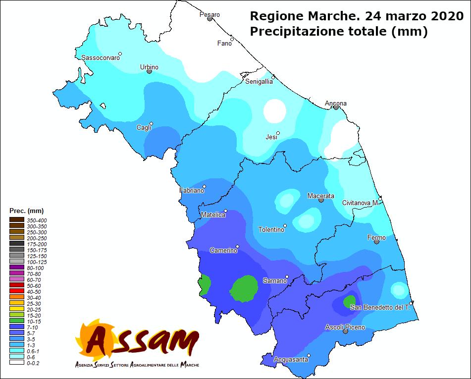 Meteo ASSAM Regione Marche - precipitazione 24 marzo 2020