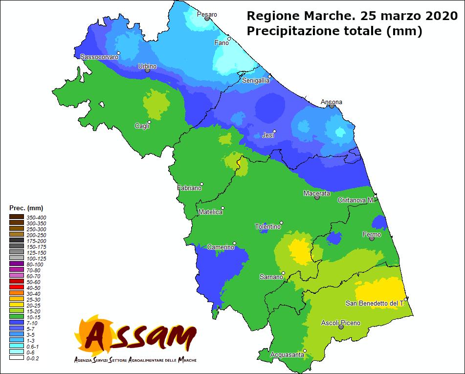 Meteo ASSAM Regione Marche - precipitazione 25 marzo 2020