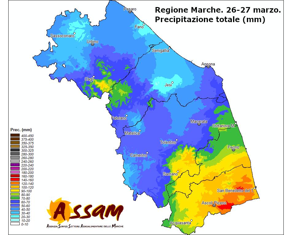 Meteo ASSAM Regione Marche - precipitazione 26-27 marzo 2020