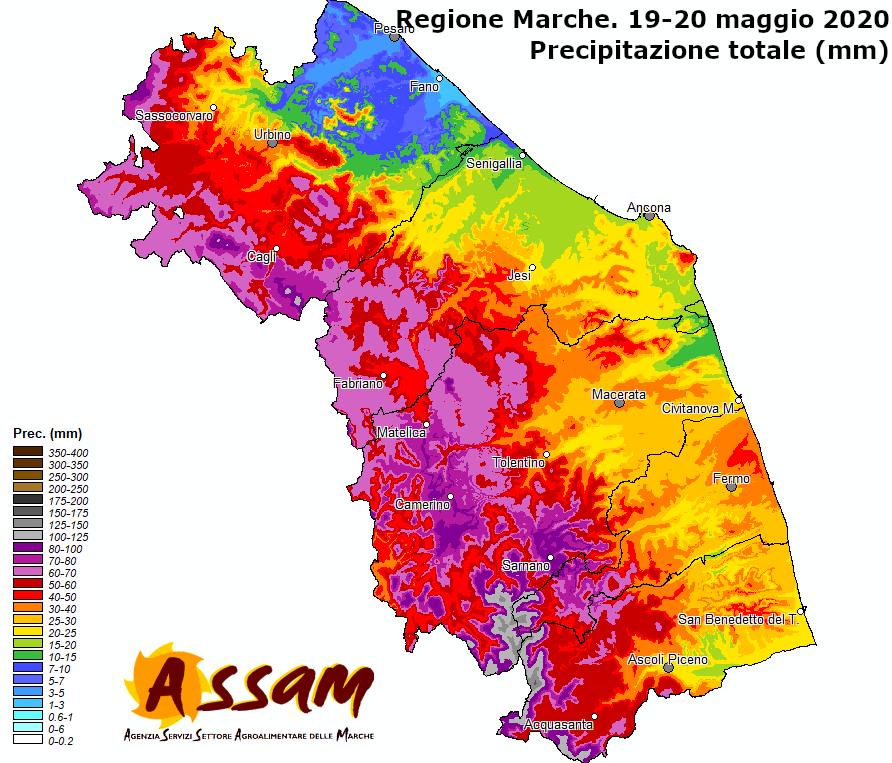 Meteo ASSAM Regione Marche - precipitazioni 19 20 maggio 2020
