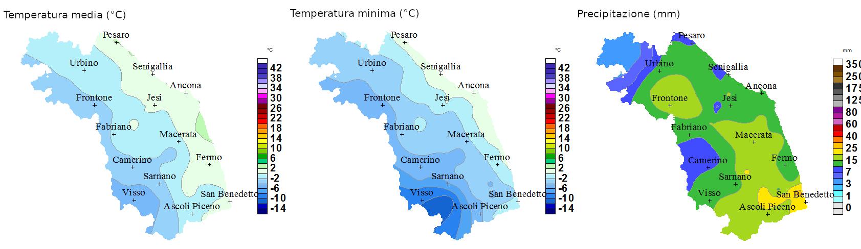 Meteo ASSAM Regione Marche - temperatura precipitazione 13 febbraio 2021