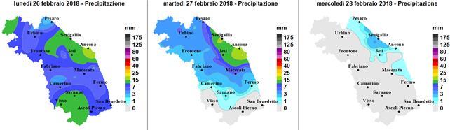 Meteo ASSAM Marche - precipitazione 26 27 28 feb 2018