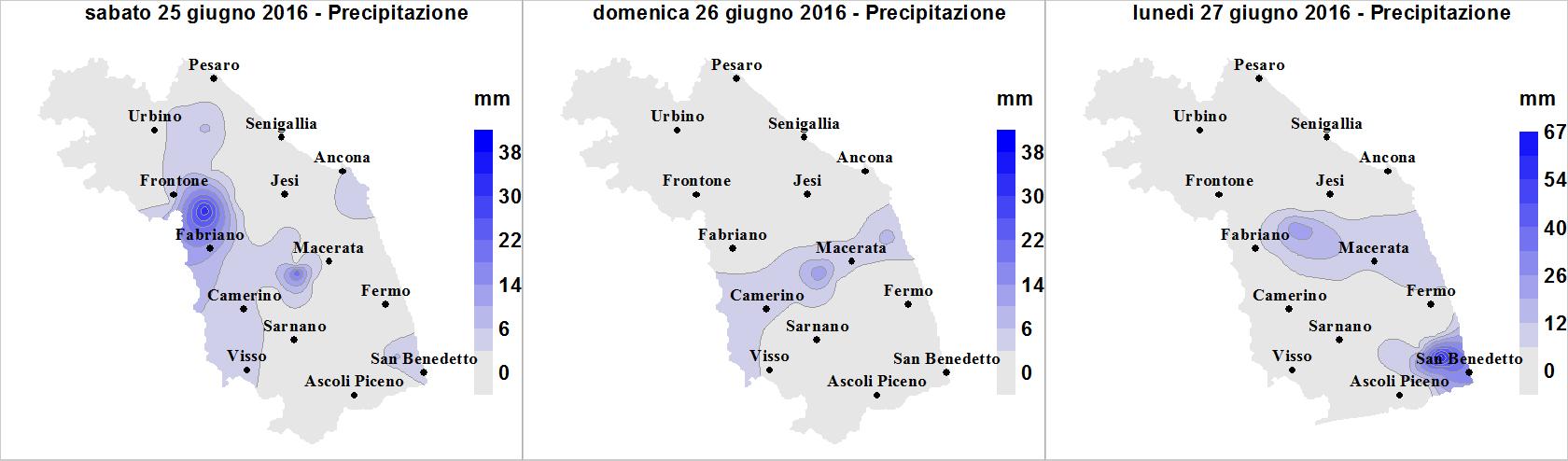 Meteo ASSAM Regione Marche - precipitazione 25 27 giugno 2016