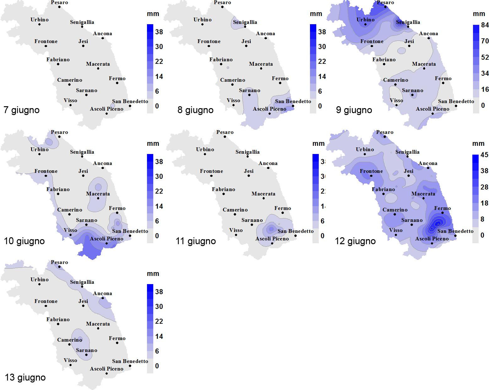 Meteo ASSAM Regione Marche - precipitazione 6 13 giugno 2016