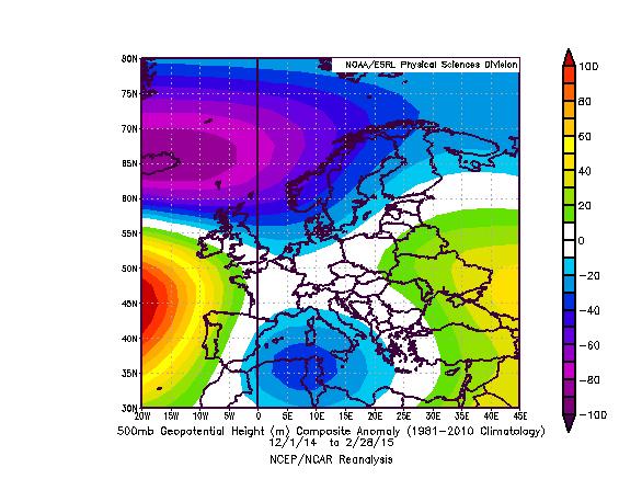 Meteo ASSAM Regione Marche - Anomalia HGT 500mb inverno 2015