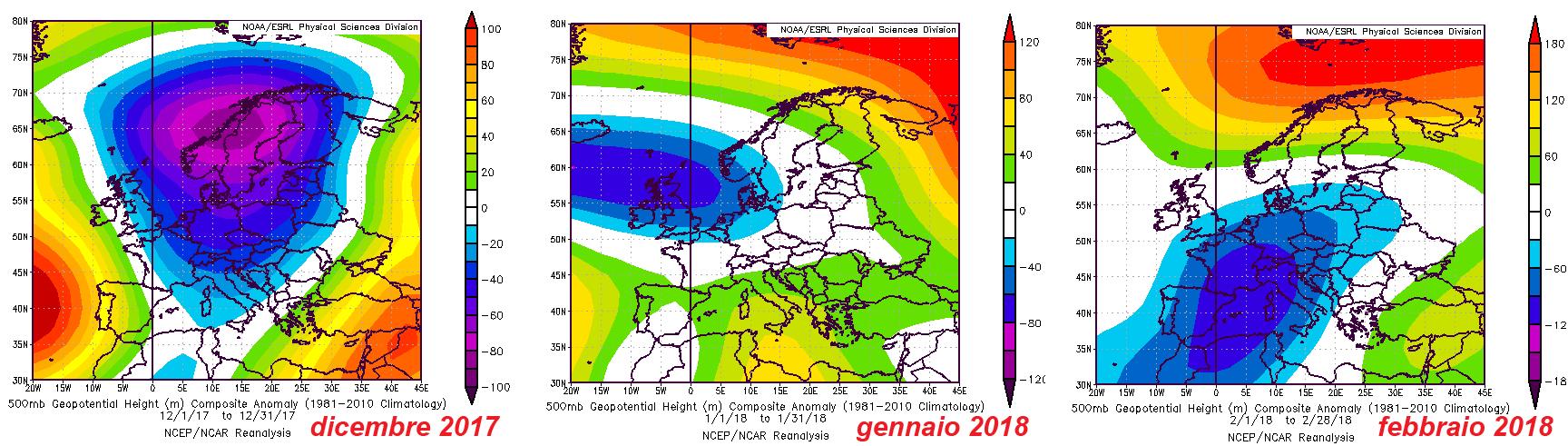 Meteo ASSAM Marche - anomalia geopotenziale 500mb inverno 2018