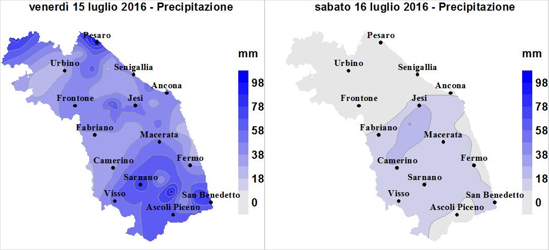 Meteo ASSAM Regione Marche - mappe precipitazione giorno