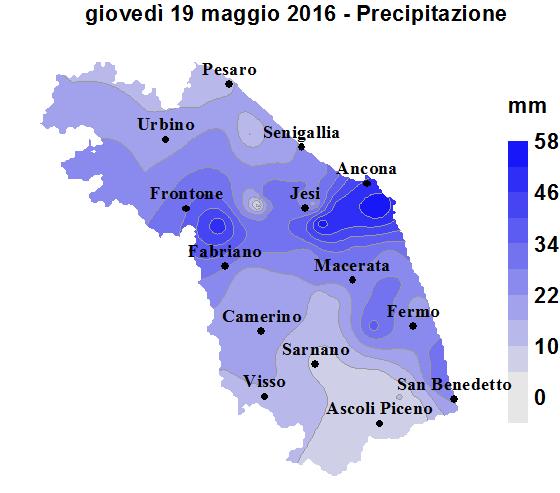 Meteo ASSAM Regione Marche - precipitazion 19 maggio 2016