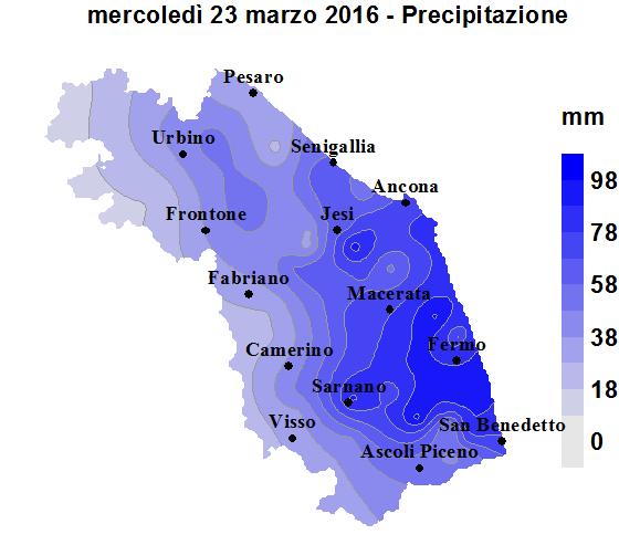 Meteo ASSAM Regione Marche - mappa precipitazione
