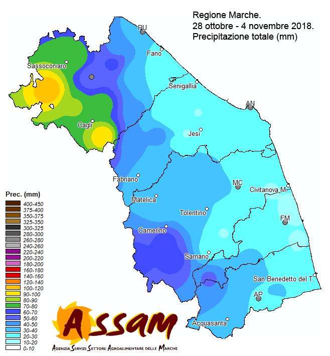 Meteo ASSAM Regione Marche - precipitazione Marche