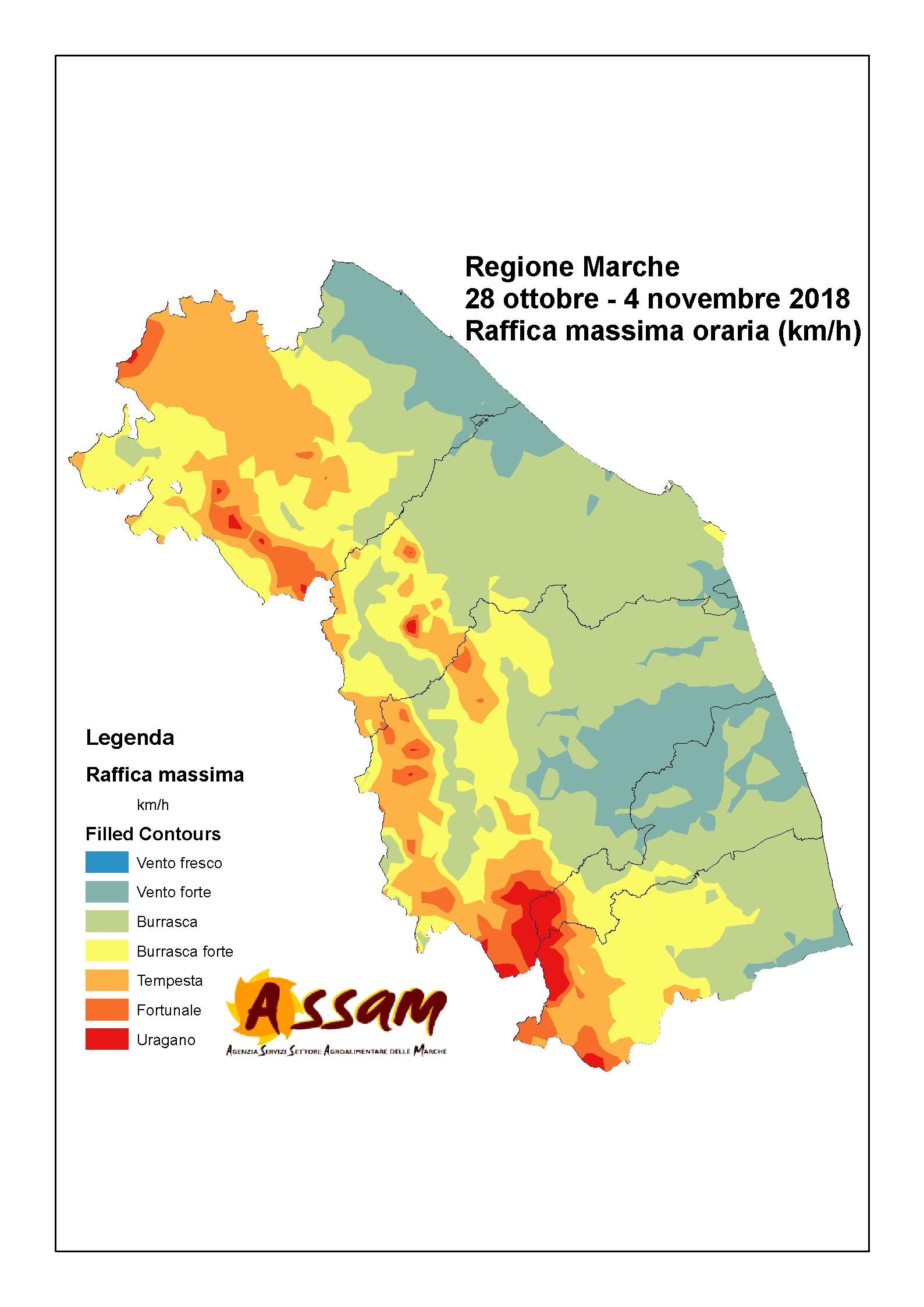 Meteo ASSAM Regione Marche - mappa raffica massima