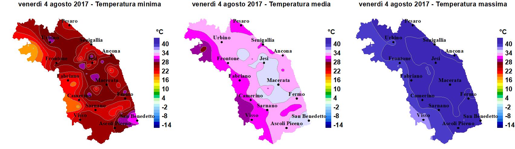 Meteo ASSAM Marche - temperatura 4 agosto 2017